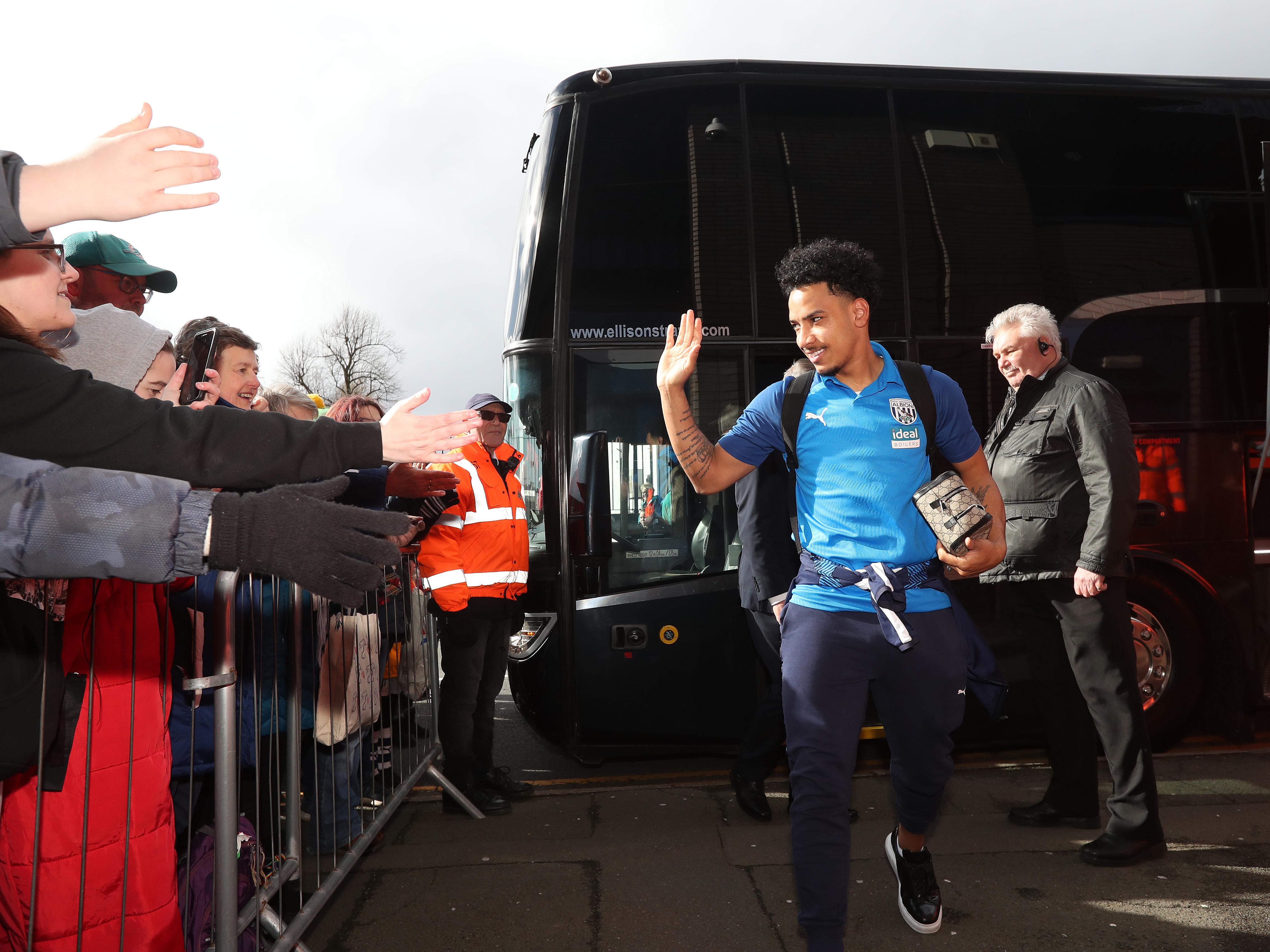 Matheus Pereira waves to Albion fans