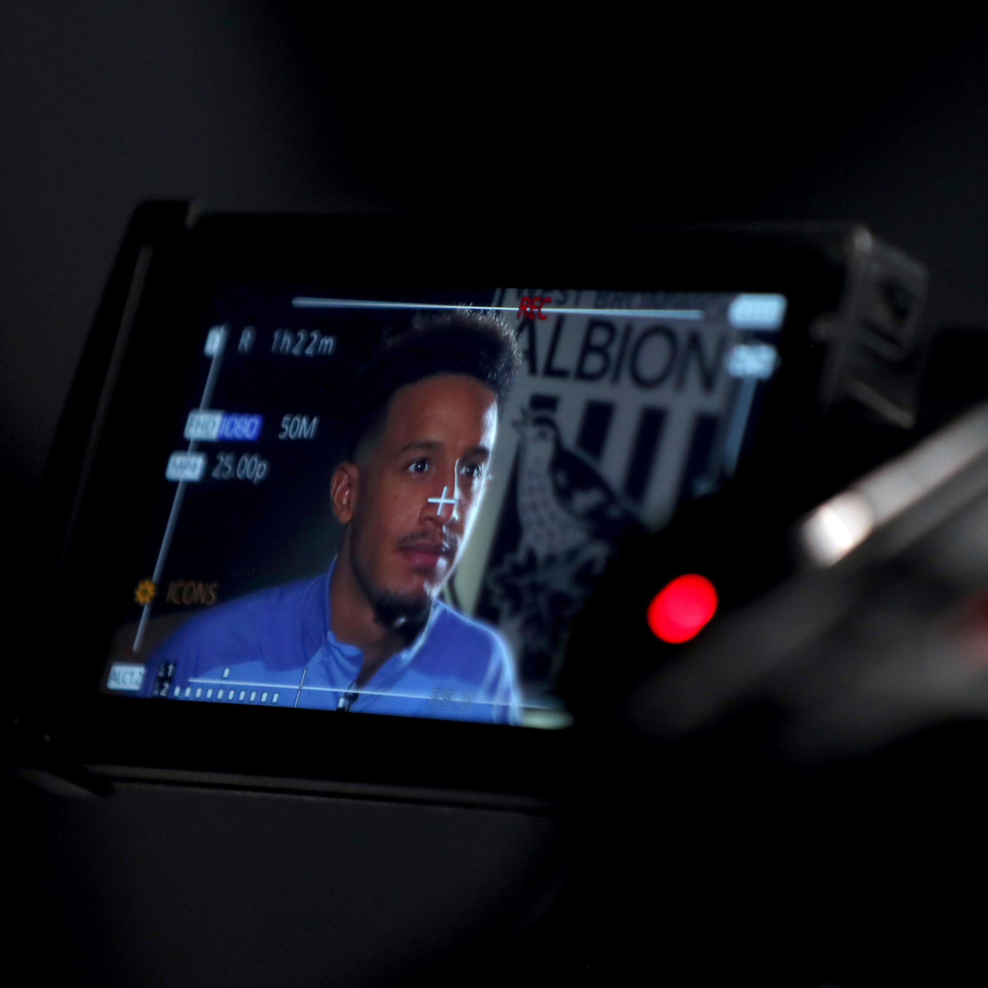 Callum Robinson in front of camera