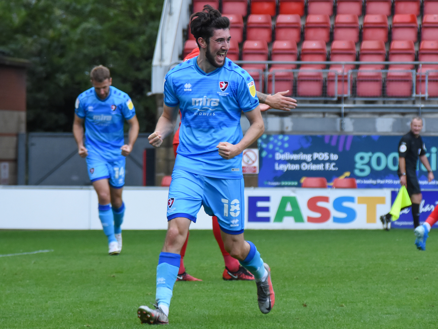 Albion youngster Finn Azaz celebrates scoring his first League Two goal while on loan at Cheltenham Town