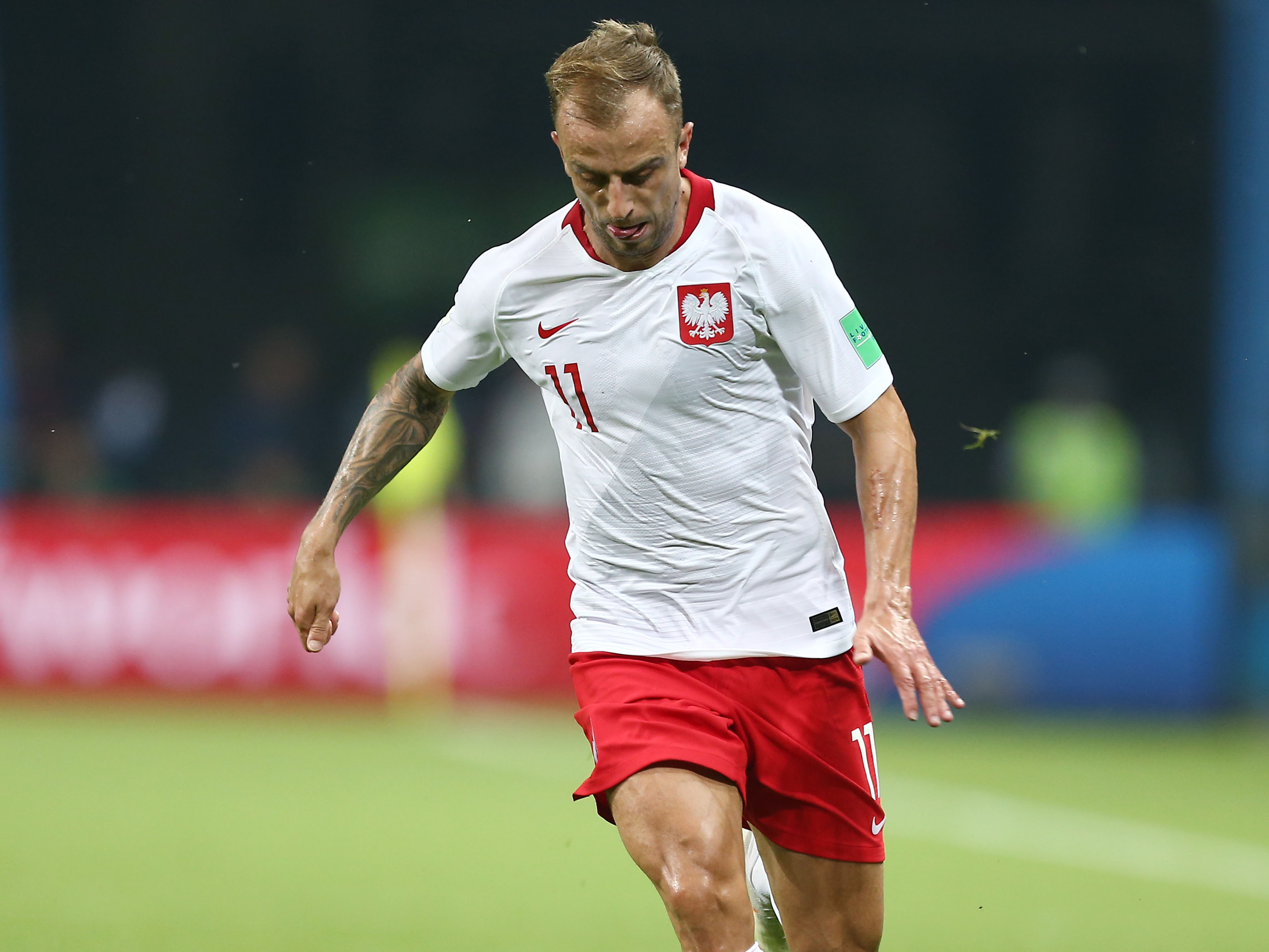 Grosicki playing for Poland