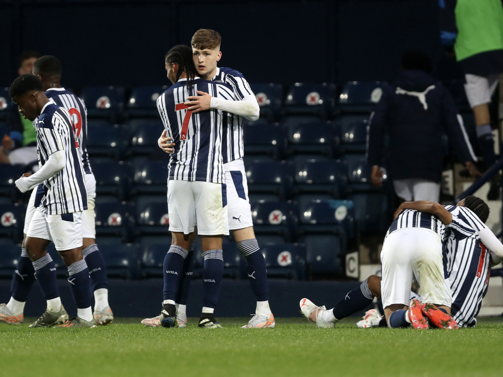 Albion celebrate Ashworth's winner in the FA Youth Cup